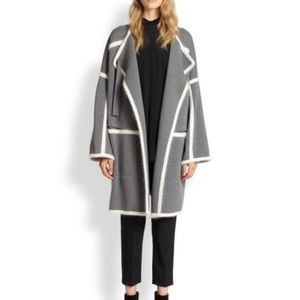Chloe Grey Wool and Cream Angora Oversized Coat XS